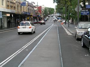 Exposed tram tracks - Glebe Point Road